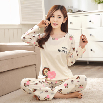 Korean-style female long-sleeved cotton Plus-sized home clothes Qiudong pajamas (Long sleeve QH8008)