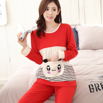 Korean-style female long-sleeved cotton Plus-sized home clothes Qiudong pajamas (Long sleeve small fragrant bear 8011)