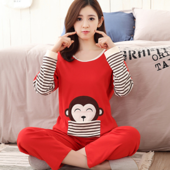 Korean-style female long-sleeved cotton Plus-sized home clothes Qiudong pajamas (Long sleeve solid color monkey 8012)