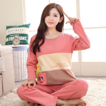 Korean-style female long-sleeved cotton Plus-sized home clothes Qiudong pajamas (Long sleeve ZP three color Mickey)