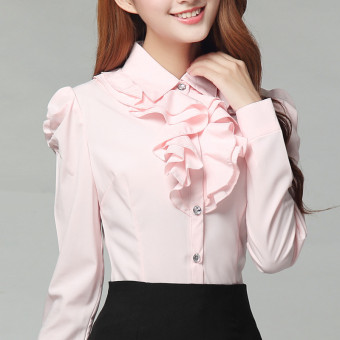 Korean-style female long-sleeved ol chiffon shirt lace white shirt (Pink) (Pink)