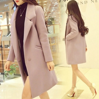 Korean-style female mid-length New style woolen coat (Lotus color)
