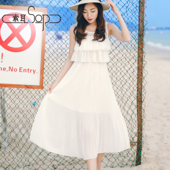 Korean-style female mid-length Slim fit fairy dress sleeveless chiffon dress