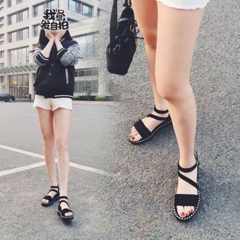 Korean-style female New A-line thick bottomed sandals (Black)