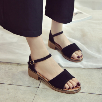 Korean-style female New style bag with gladiator sandals (Black)