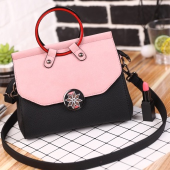 Korean-style female New style contrasting color retro package bag (Black)