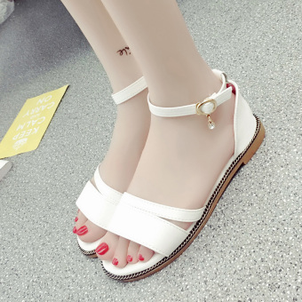 Korean-style female New style flat gladiator sandals (Women's + White)