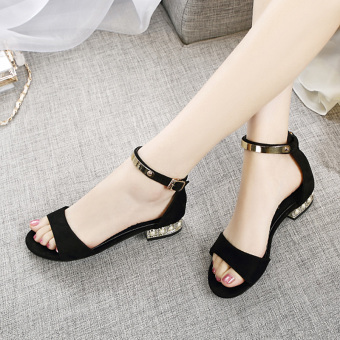 Korean-style female New style flat Plus-sized women's shoes sandals (Black)
