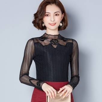 Korean-style female New style lace bottoming shirt mesh Top (Black)