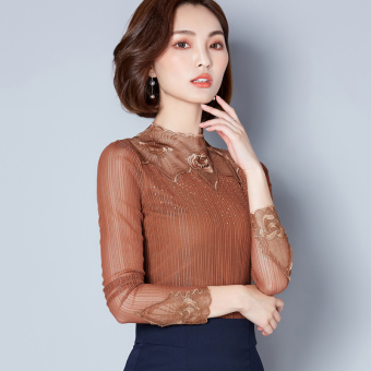 Korean-style female New style lace bottoming shirt mesh Top (Casual color)