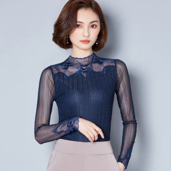 Korean-style female New style lace bottoming shirt mesh Top (Sapphire blue color)