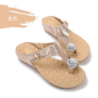 Korean-style female New style outerwear Shishang beach shoes flip-flop sandals slippers (Light Yellow Gold Color)