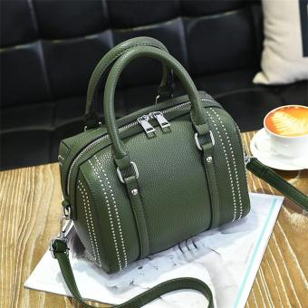 Korean-style female New style portable trendy bag (Dark green color)