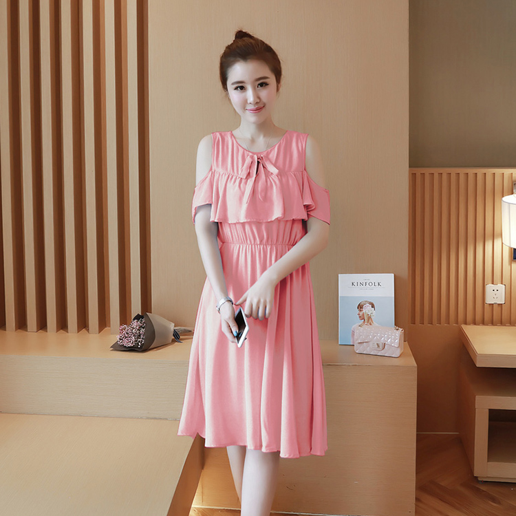 Korean-style female New style round neck maternity dress Dress (Pink)