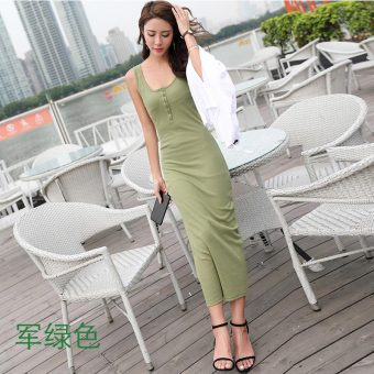 Korean-style female New style Slim fit bottoming dress skirt (Dark green color)
