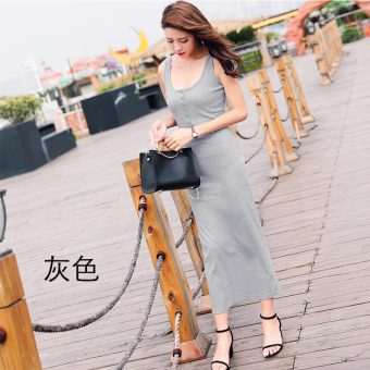 Korean-style female New style Slim fit bottoming dress skirt (Gray)