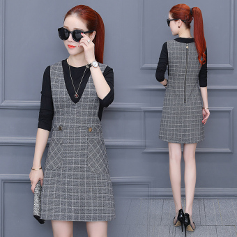 Korean-style female New style Slim fit plaid strap dress Dress (Gray)