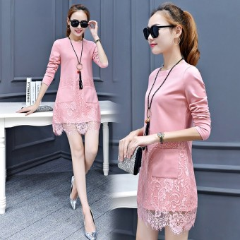 Korean-style female New style Slim fit step skirt long-sleeved dress (Pink color)