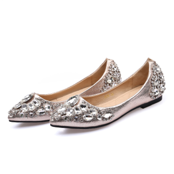 Korean-style female New style spring and autumn wedding shoes Diamond shoes (Gold)