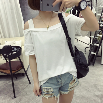 Korean-style female New style student short sleeved Top LOOESN half-sleeve shirt T-shirt (210 white)