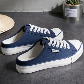 Korean-style female outdoor wear canvas shoes a pedal (Dark blue color)
