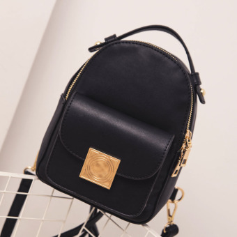 Korean-style female Pu contrasting color mini small bag backpack (Black)