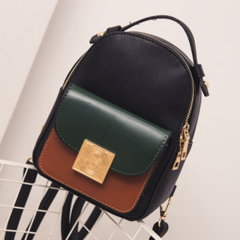 Korean-style female Pu contrasting color mini small bag backpack (Color)