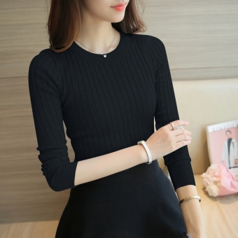 Korean-style female pullover thin long-sleeved Top knitted shirt (Black) (Black)
