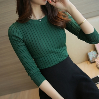 Korean-style female pullover thin long-sleeved Top knitted shirt (Dark green color) (Dark green color)