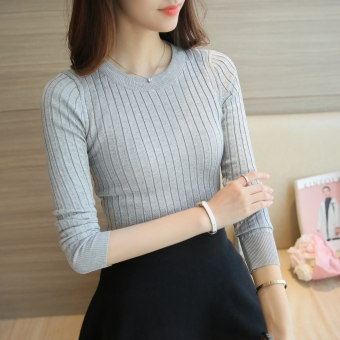 Korean-style female pullover thin long-sleeved Top knitted shirt (Light gray color) (Light gray color)