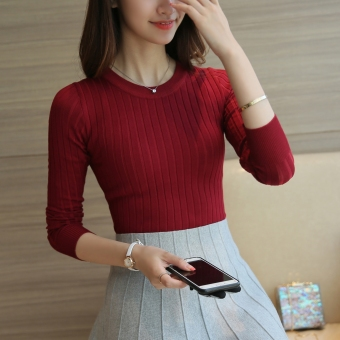 Korean-style female pullover thin long-sleeved Top knitted shirt (Wine red color) (Wine red color)