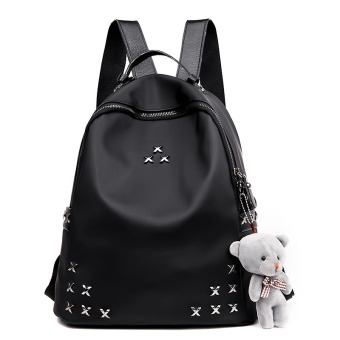 Korean-style female Shishang women's bag school bag (Black to send Bear)
