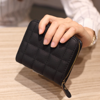Korean-style female short zip leather wallet mini purse bag (Black)