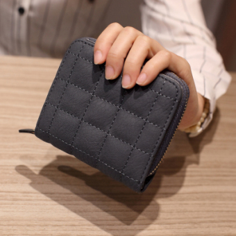 Korean-style female short zip leather wallet mini purse bag (Gray)