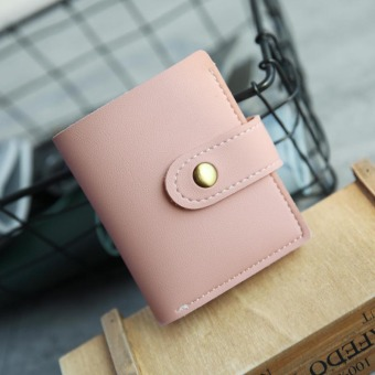 Korean-style female short zipper two fold small purse wallet (Pink AM011)