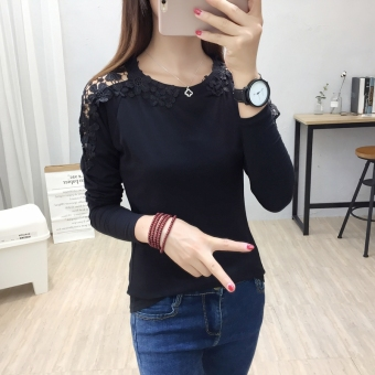 Korean-style female Slim fit lace Top versatile bottoming shirt T-shirt (5304-black)