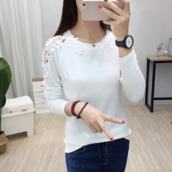 Korean-style female Slim fit lace Top versatile bottoming shirt T-shirt (5304-white)