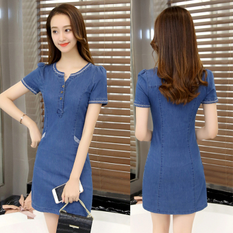 Korean-style female Slim fit Slimming effect denim skirt denim dress (Deep denim blue)