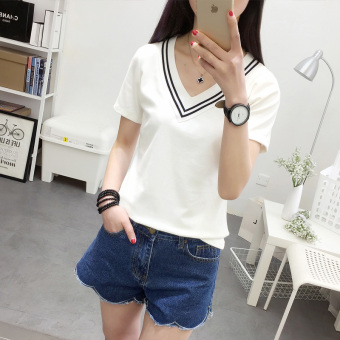 Korean-style female Slim fit student cotton V-neck T-shirt (White)