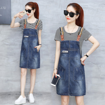 Korean-style female Slimming effect short-sleeved shoulder strap dress denim dress (Striped t + A791 woven shoulder strap Models)