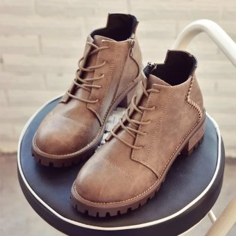 Korean-style female Spring and Autumn single boots semi-high heeled Women's boots (Light Brown)