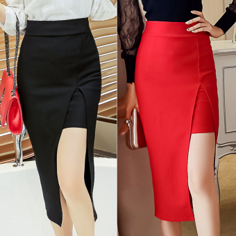 Korean-style female spring and high-waisted one-step Skirt (Black)