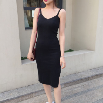Korean-style female spring New style base skirt knit dress (Black) (Black)