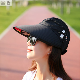 Korean-style Female Summer sunscreen no top hat sun hat (Black)