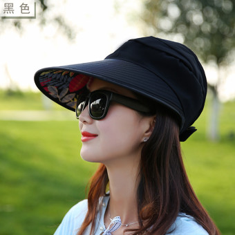 Korean-style Female Summer sunscreen no top hat sun hat (No flower black)