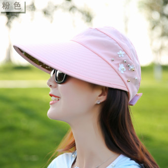 Korean-style Female Summer sunscreen no top hat sun hat (Pink)