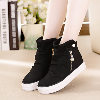 Korean-style female thick bottomed elevator women's shoes hight-top plain weave shoes (Black no elevator Models)