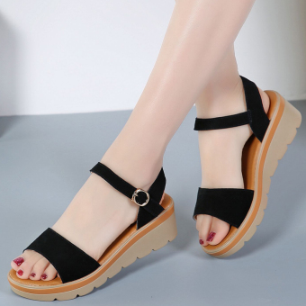 Korean-style female thick bottomed semi-high heeled leather women's shoes sandals (Black (foot fat feet wide shot Big A code))