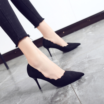 Korean-style female thin heeled semi-high heeled versatile shoes high-heeled shoes (Black)