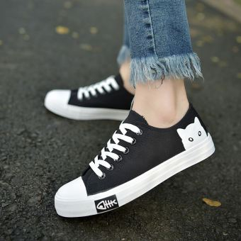 Korean-style flat lace female casual shoes white canvas shoes (Black)